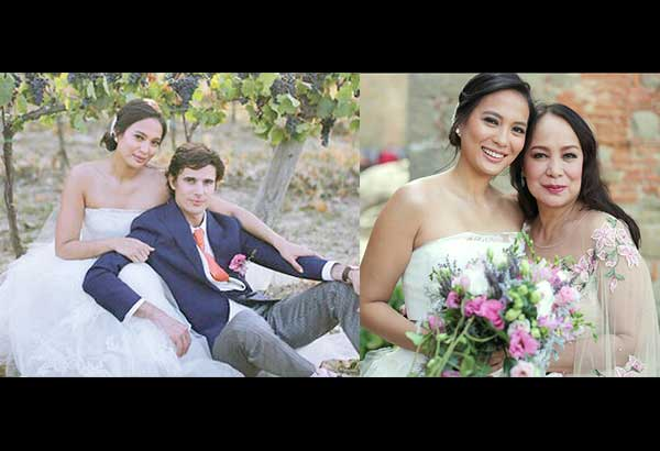 Isabelle Daza and Adrien Semblat during their September 2016 wedding in Italy. Right: Isabelle with mom Gloria Diaz. – Photos from Isabelle's Instagram