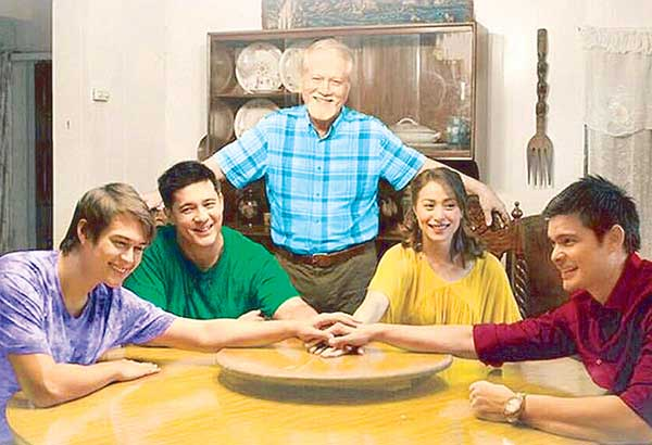 Ronaldo Valdez with his 'children' in the Star Cinema family drama Seven Sundays, opening nationwide today, from left: Enrique Gil, Aga Muhlach, Cristine Reyes and Dingdong Dantes.