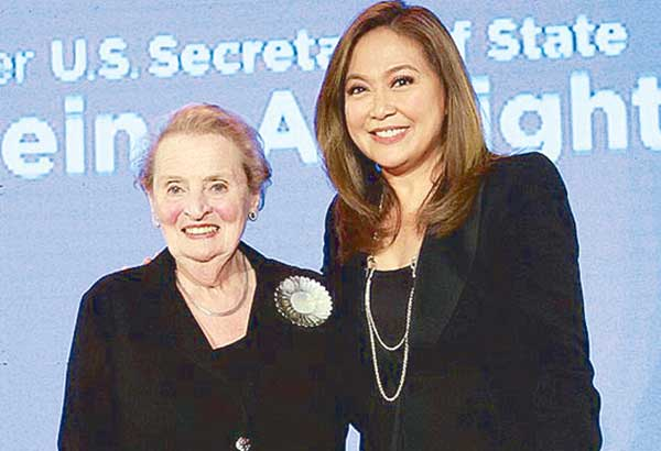 Karen Davila (right) got to moderate the forum and do a one-on-one with the former US secretary of state Madeleine Albright