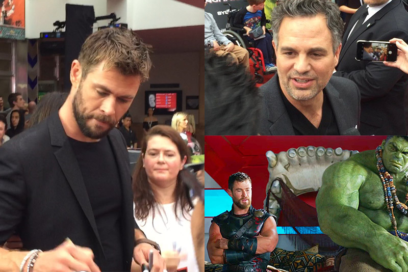 "From left: Chris Hemsworth signs for the fans in Sydney; Mark Ruffalo (top right); Buddy movie: Thor (Chris Hemsworth) and Hulk (Mark Ruffalo) in Marvel Motion Pictures' ""Thor: Ragnarok"" released by Disney Studios (bottom right). The STAR/Scott Garceau"
