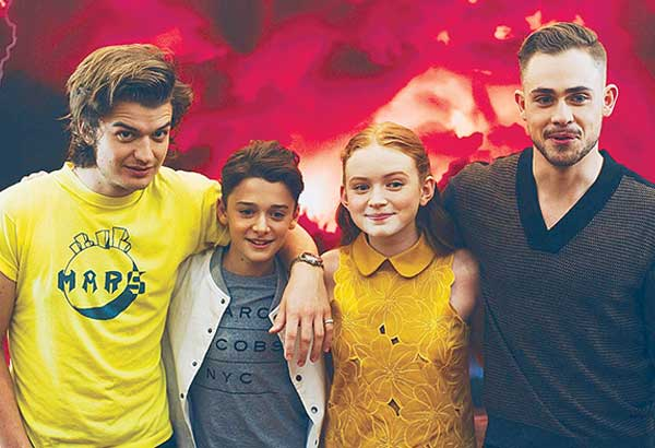 Stranger Things Season 2 cast members (from left) Joe Keery, Noah Schnapp, Sadie Sink and Dacre Montgomery during their recent Manila visit to promote the megahit Netflix series — Photo by MIKE REBUYAS