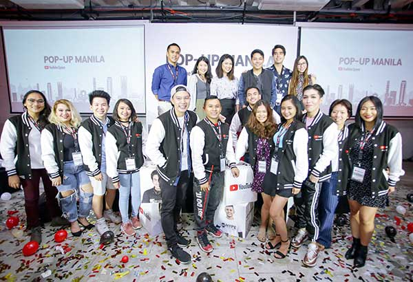 The event organizers and the 12 winners of YouTube NextUp Philippines at Green Sun Makati