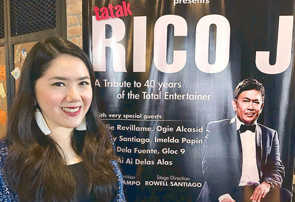 Tosca Puno-Ramos beside the poster for her dad Rico J. Puno's Dec. 2 Solaire concert and (below) with Rico: 'As a father, he is mabait, hindi ka niya matitiis. He has changed a lot after he recovered from an open-heart surgery in which he temporarily lost his voice. He realized that life is indeed short.'