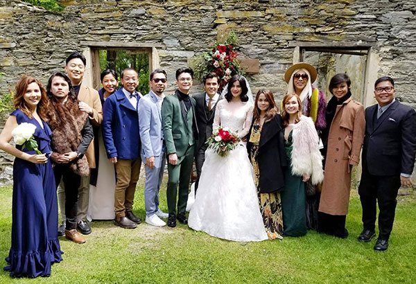 Newlywed Anne Curtis and Erwan Heussaff with guests that included Anne's It's Showtime co-hosts Karylle (with husband Yael Yuzon), Ryan Bang, Felicia and husband Kim Atienza, Teddy Corpuz, Vhong Navarro, Teddy's wife Jasmine, Vice Ganda and Jugs Jugueta.