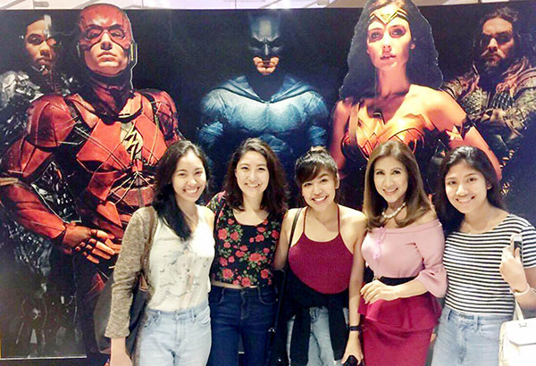 Justice League is for the young and not-so-young alike. The author (second from right) with her daughter Mika (center) and her bestfriends Gia Garcia, Rikka Fariñas and Georgia Kalaw at the premiere.