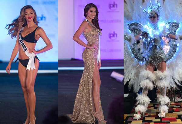 From left: Miss South Africa is among fans' favorites for Best in Swimwear; Miss Philippines for Best in Evening Gown; and Miss Canada for Best in National Costume. Photos via Facebook/The Awesome Pageant Era