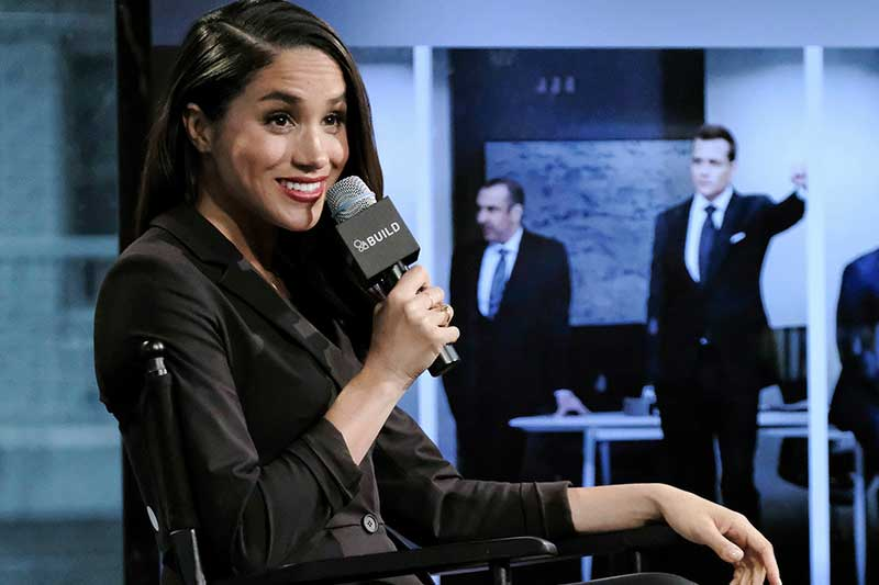"""FILE - In this Thursday, March 17, 2016 file photo, actress Meghan Markle participates in AOL's BUILD Speaker Series to discuss her role on the television show, """"Suits"""", in New York. Palace officials announced Monday Nov. 27, 2017 that Britain's Prince Harry is engaged to Meghan Markle, confirming months of rumors that the couple was close to tying the knot. Photo by Evan Agostini/Invision/AP, File"""