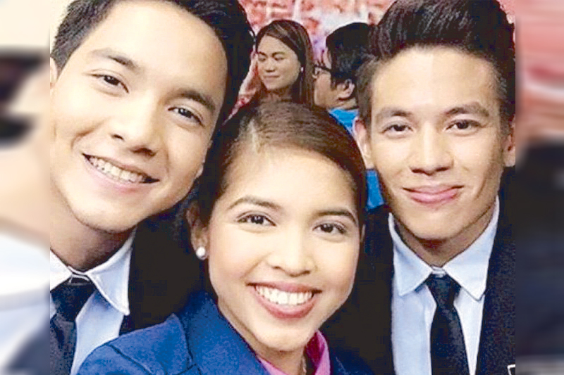 Jake Ejercito (right) with Maine Mendoza and Alden Richards in a 2016 Lenten presentation on Eat, Bulaga! Before that, Jake also appeared as guest in Maine and Alden's AlDub Kalyeserye.