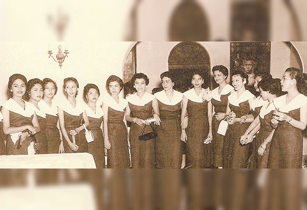 'Beecees' in their familiar blue and white uniform at a function in Malacañang Palace, among them, Fe Dolor, Helen Lontok, Luz Torres, Letty Neri, Charito Enriquez, Edith Valle, Linda Garcia, Charito Vergel de Dios, Terry Magsaysay, Angie Abella, Ruby Corpuz and Patsy de Santos