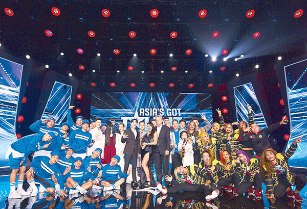 Judges Jay Park, Anggun and David Foster with the nine finalists of Asia's Got Talent (AGT) Season 2