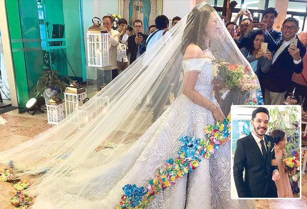 Here comes the bride in a gown decked with flowers at the hem, designed by Frederick Peralta (shown at right taking photos). Inset: Ai-Ai delas Alas' son Sancho Vito delas Alas who gave the bride away with Ai-Ai's mom, Engr. Justa delas Alas. — Photos by Ricky Lo, Gorgy Rula & Shirley Pizarro