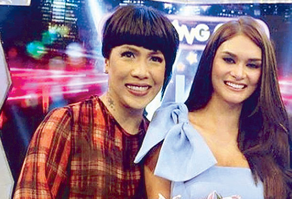 2015 Miss Universe Pia Wurtzbach (right) and 'Miss Box Office' Vice Ganda meet, rather clash, in Gandarrapido: Revenger Squad, Star Cinema and Viva Films' entry in the 2017 Metro Manila Film Festival (MMFF) —Photo from ABS-CBN.com