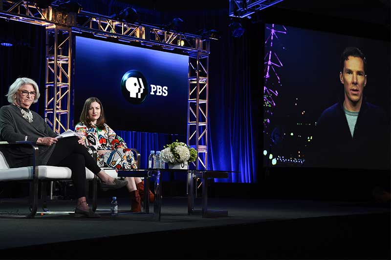 "Rebecca Eaton, left, Kelly Macdonald and Benedict Cumberbatch (via satellite) participate in the ""The Child in Time"" panel during the PBS Television Critics Association Winter Press Tour on Wednesday, Jan. 17, 2018, in Pasadena, Calif. Photo by Richard Shotwell/Invision/AP"