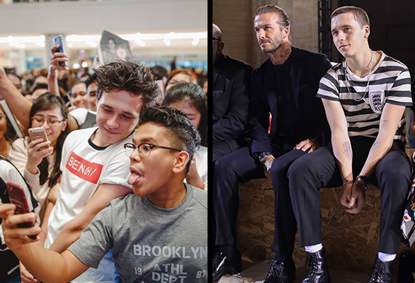 Left: Brooklyn Beckham taking photos with his Filipino fans (photo from Facebook/Bench); Brooklyn with dad David at the front row during the Victoria Beckham Spring/Summer 2018 fashion show during New York Fashion Week, Sunday, Sept. 10, 2017. (AP Photo/Mary Altaffer)