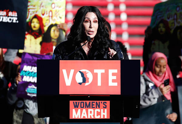 Cher speaks during a Women's March rally Sunday, Jan. 21, 2018, in Las Vegas. Thousands of people poured into a football stadium in Las Vegas on Sunday, the anniversary of women's marches around the world, to cap off a weekend of global demonstrations that promised to continue building momentum for equality, justice and an end to sexual harassment. AP Photo/John Locher