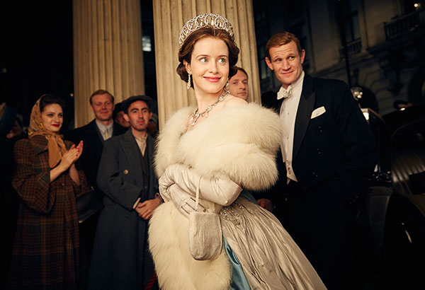 "This image released by Netflix shows Claire Foy, center, and Matt Smith, right, in a scene from ""The Crown."" The New York Times website recaps each episode of ""The Crown"" in text stories, but it goes the extra mile. Through the miracle of hyperlinks and its own ""Times Machine"" function, the site links wanderers to the paper's original reporting _ and its original pages in PDFs detailing numerous actual events covered in the series. Robert Viglasky/Netflix via AP"