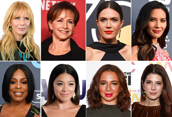 This combination photo shows, top row from left, Rosanna Arquette, SAG-AFTRA President Gabrielle Carteris, Mandy Moore, Olivia Munn and bottom row from left, Niecy Nash, Gina Rodriguez, Maya Rudolph and Marisa Tomei, who will present awards at Sunday's Screen Actors Guild Awards. AP Photo