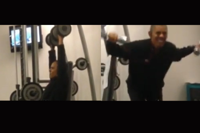 Watch  Leaked Video Shows Obama Pumping Iron In Poland