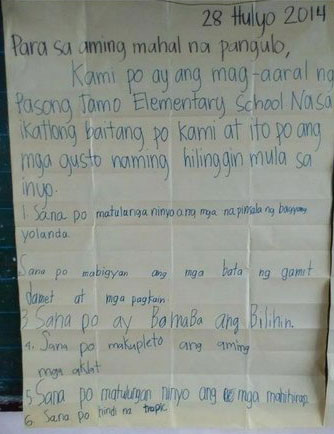 Elementary students bare simple wish list to PNoy | Philstar com
