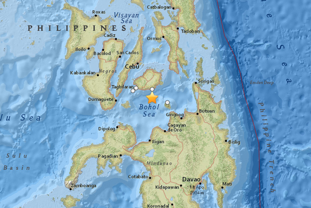 Map shows the epicenter, marked with a star, of the magnitude 4.7 earthquake that struck off Bohol province on Monday morning, Mar. 30, 2015. USGS