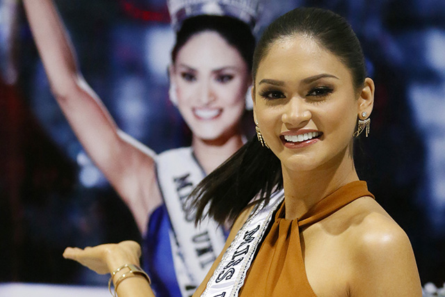Newly crowned Miss Universe Pia Alonzo Wurtzbach poses before her portrait upon arrival early Saturday, Jan. 23, 2016 in suburban Pasay City, south of Manila, Philippines. Wurtzbach was crowned Miss Universe on Dec. 20, 2015 but not before pageant host Steve Harvey incorrectly announced Miss Colombia Ariadna Gutierrez as the winner at the Miss Universe pageant in Las Vegas. AP/Bullit Marquez