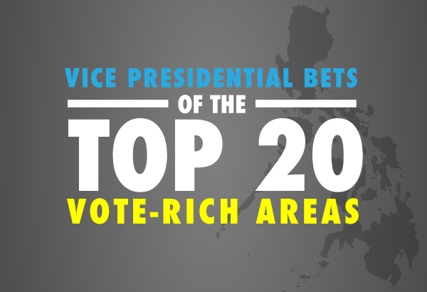 We reviewed the numbers from the top 20 vote-rich areas, which claim nearly half of the total number of registered Filipino voters, and their preferred vice president.