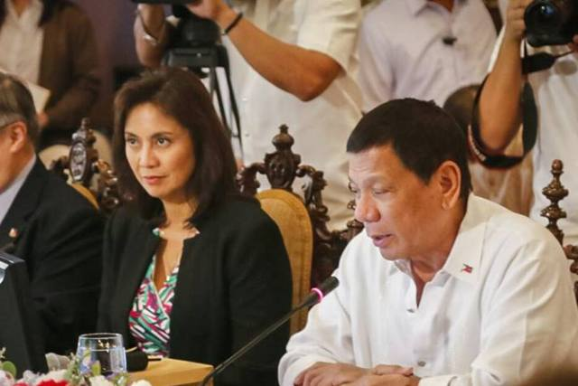 Vice President Leni Robredo attends the National Security Meeting with President Rodrigo Duterte at the Malacañan Palace. Office of the Vice President/Released