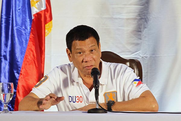 President Rodrigo Duterte holds a press conference at the Presidential Guest house in Davao City in August. KARL NORMAN ALONZO/PPD, file
