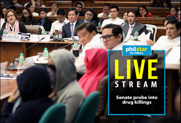 "Senate Committee on Justice and Human Rights chair Leila de Lima (top left) fields questions to security and human rights officials present during the Senate inquiry on the recent rise in extrajudicial killings and summary killings involving suspected criminals on Monday. De Lima said that the probe seeks to strengthen the government's ability to fight crime, while stressing that the blatant disregard for human life must end: ""Extrajudicial or extralegal killings, whether perpetrated by the State or by non-state actors must stop."" Also in photo are (from left to right, clockwise) Senator Panfilo ""Ping"" Lacson, Senate Majority Leader Vicente ""Tito"" Sotto III, Senator Juan Edgardo ""Sonny"" Angara, Senate Minority Leader Ralph Recto, Senate President Pro Tempore Franklin Drilon, and Senator Paolo Benigno ""Bam"" Aquino IV. Senate PRIB/Cesar Tomambo"