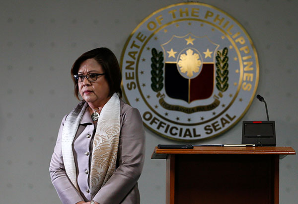 "Detained Sen. De Lima said the denial of visits of foreign dignitaries ""legitimizes oppression and political persecution."" AP/Bullit Marquez"