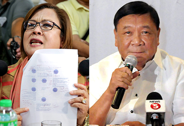 Sen. Leila de Lima and Pangasinan 5th District Rep. Amado Espino Jr., in separate press conferences yesterday, deny allegations contained in President Duterte's drug matrix. GEREMY PINTOLO, CESAR RAMIREZ