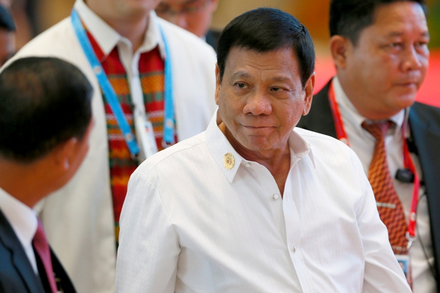 President Rodrigo Duterte arrives at the National Convention Center in the 28th and 29th ASEAN Summits and other related summits last Sept. 6, 2016 in Vientiane, Laos. AP Photo/Bullit Marquez