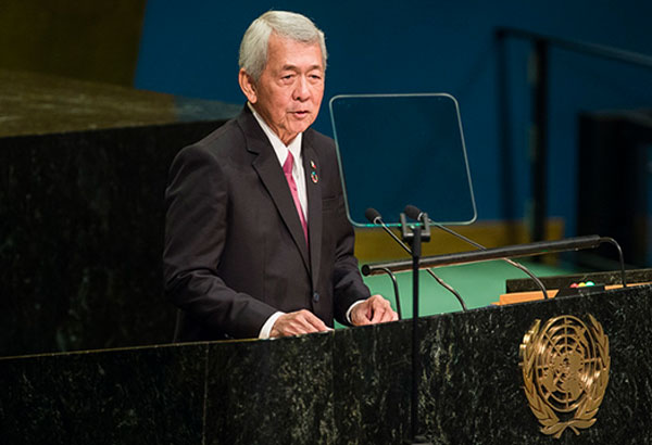 Philippines' Foreign Minister Perfecto Yasay addresses the 71st session of the United Nations General Assembly at U.N. headquarters, Saturday, Sept. 24, 2016. AP Photo/Andres Kudacki