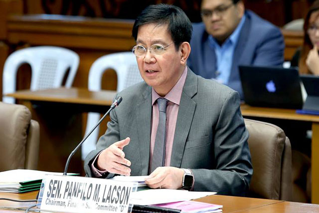 Sen. Panfilo Lacson made the warning yesterday after Faeldon on Wednesday asked the senator to just concentrate on defending his son, Panfilo Lacson Jr., from allegations of cement smuggling. PRIB/Albert Calvelo, File