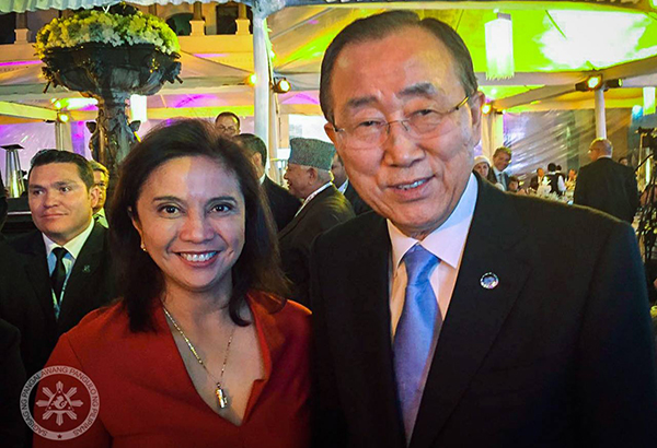 The camp of Vice President Leni Robredo dismissed yesterday speculation that she had a meeting with United Nations Secretary General Ban Ki-moon in Ecuador to seek the global body's support to unseat President Duterte. Georgina Ann Hernandez, Robredo's spokesperson, said Robredo flew to Quito, Ecuador as head of the Philippine delegation for the UN Conference on Housing and Sustainable Urban Development.Facebook.com/LeniRobredoPH