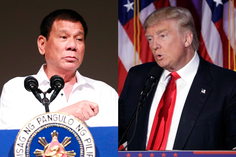 "Ayon kay President Duterte,  nais ni Donald Trump na magtagum­pay siya sa kanyang kampanya laban sa problema ng droga. ""I could sense a good rapport, an animated President-elect Trump. And he was wishing me success in my campaign against the drug problem,"" ani President Duterte.  AP/Bullit Marquez, John Locher"