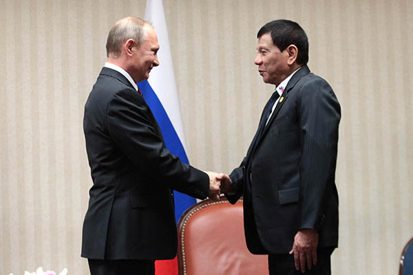 President Rodrigo Duterte and Russian President Vladimir Putin meet for the first time during a bilateral meeting on the sidelines of the Asia-Pacific Economic Cooperation (APEC) Leaders' Meeting in Lima, Peru on November 19. PPD/Robinson Niñal Jr.