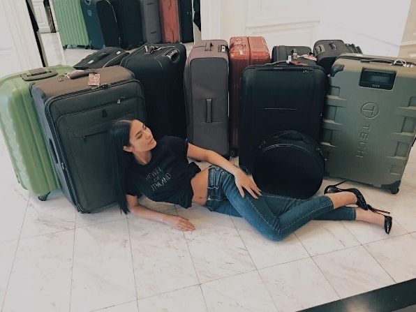 Two days before her arrival in the country, Miss Thailand Chalita Sunsanee also posted a photo of her with her 11 suitcases. Instagram/Namtanlita