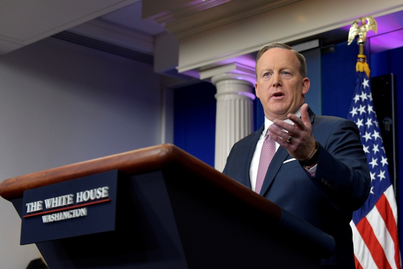"""""""These cowardly terrorists killed Philippine law enforcement officials and endangered the lives of innocent citizens,"""" White House Press Secretary Sean Spicer said in a statement before the weekend. AP/Susan Walsh, File"""