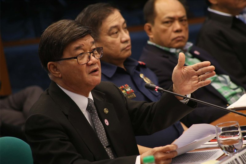 "Justice Secretary Vitaliano Aguirre II defended the ruling saying ""the DOJ preliminary investigation does not depend on the investigation being conducted by them (senators),"" as his office could not, on its own, use the information and pieces of evidence presented during the Senate hearings. PNA/Avito C. Dalan, File"