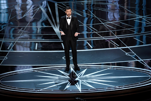 Host Jimmy Kimmel speaks at the Oscars on Sunday, Feb. 26, 2017, at the Dolby Theatre in Los Angeles. Chris Pizzello/Invision/AP