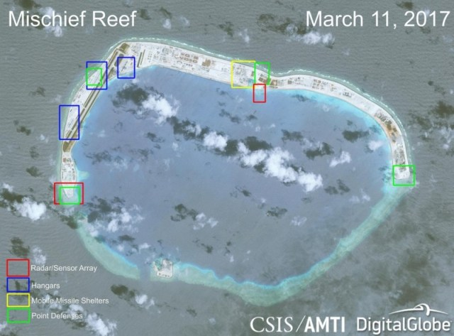China's military facilities on man-made SCS islands nearly
