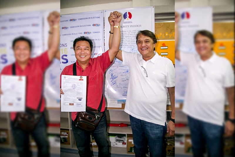 DAVAO PALS: Pantaleon Alvarez (left) and Antonio Floirendo Jr. were the best of friends when they filed their certificates of candidacies for congressmen of Davao del Norte's 1st and 2nd districts, respectively, in the elections last year.