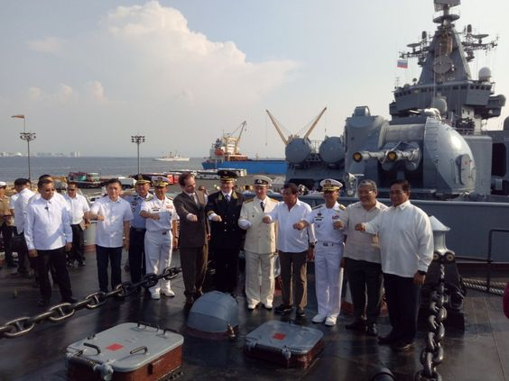 President Rodrigo Duterte together with Russian officials aboard the Russian ship Varyag. Alexis Romero