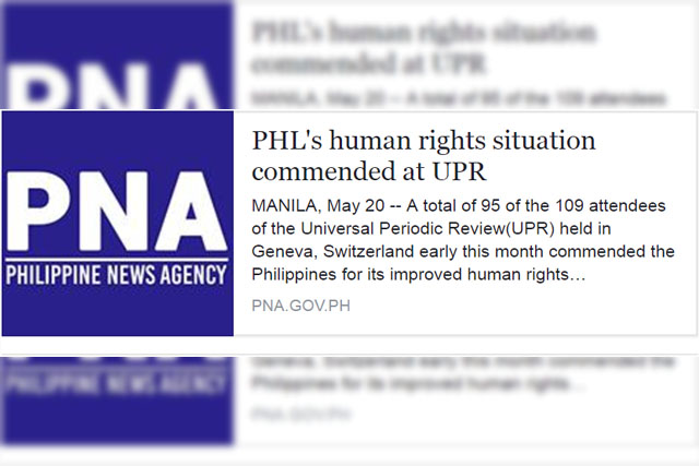 The Philippines News Agency published a story claiming that 95 nations in the 27th Universal Period Review of the UN Human Rights Council were convinced that there were no extrajudicial killings in the Philippines. Screenshot from PNA