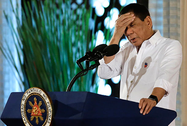 "President Rodrigo Duterte made this clarification last Saturday in Davao City, saying, ""Until there is a revolution 'yung ma-ano, malabo (it is unlikely)."" AP Photo/Aaron Favila, File"