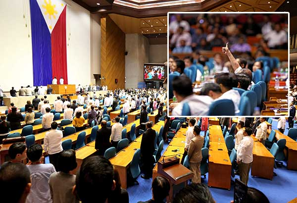 Lawmakers stand for the national anthem at the plenary hall of the House of Representatives during a special session tackling the extension of martial law in Mindanao yesterday. Inset shows a congressman with a thumbs up sign to vote in favor of the extension. BOY SANTOS, MIGUEL DE GUZMAN