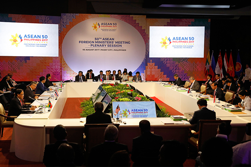 ASEAN Foreign Ministers take part in a meeting of the 50th Association of Southeast Asia Nations (ASEAN) Regional Forum in Manila, Philippines, Saturday, Aug. 5, 2017. Alarm over North Korea's intercontinental ballistic missile tests, a tentative step to temper South China Sea disputes and unease over a disastrous siege by pro-Islamic State group militants will grab the spotlight in an annual gathering of Southeast Asia's top diplomats with their Asian and Western counterparts. Erik De Castro/Pool Photo via AP