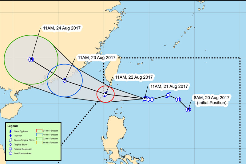 """Photo shows the forecast track of tropical storm """"Isang."""" PAGASA/Released"""
