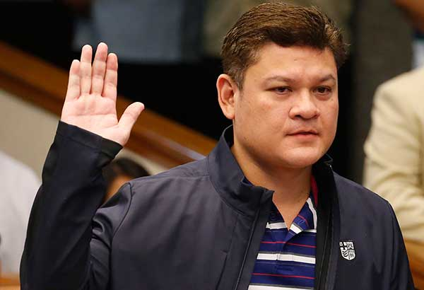Paolo Duterte, the eldest son of President Rodrigo Duterte takes his oath in the continuing senate probe on the more than half a ton of the illegal drug methamphetamine hydrochloride, locally known as